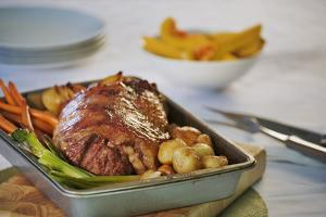 Roast Lamb Dinner in Roasting Pan by Martin Harvey