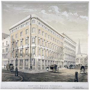 Messrs J&R Morley's Warehouses, Corner of Milk Street and Gresham Street, London, C1840 by Martin & Hood