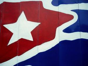 Cuban Flag Painted on Wall, Varadero, Matanzas, Cuba by Martin Lladã³