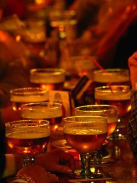 Beer Glasses at Bar, Brussels, Belgium by Martin Moos