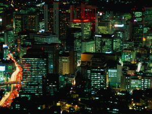 Cityscape at Night, Seoul, South Korea by Martin Moos
