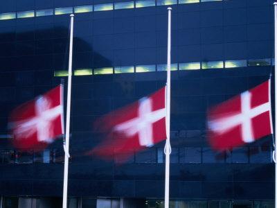 Danish Flags Flying Outside the Black Diamond Building, Copenhagen, Denmark