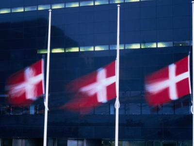 Danish Flags Flying Outside the Black Diamond Building, Copenhagen, Denmark by Martin Moos