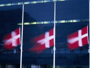 Danish Flags Flying Outside the Black Diamond Building, Copenhagen, Denmark by Martin Moos