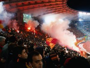 Flares in Curva Sud Stand at Champions League Game Stadio Olimpico, Rome, Italy by Martin Moos