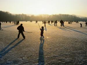 Ice Hockey on Frozen Katzensee Lake, Zurich, Switzerland by Martin Moos
