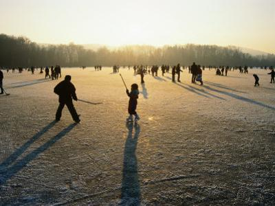 Ice Hockey on Frozen Katzensee Lake, Zurich, Switzerland