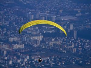 Paraglider Above the City, Maribor, Stajerska, Slovenia by Martin Moos