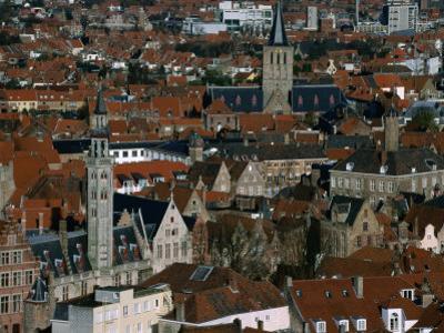 Poortersloge/Burghers' Lodge on Left and St. Gilliskerek Church in Distance, Bruges, Belgium
