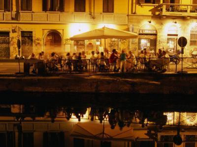 Restaurant along Canal Naviglio Grande, Milan, Italy
