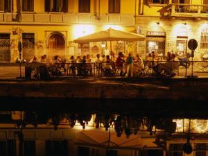Restaurant along Canal Naviglio Grande, Milan, Italy by Martin Moos