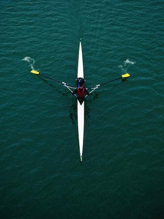 Rower on River Garonne, Toulouse, France