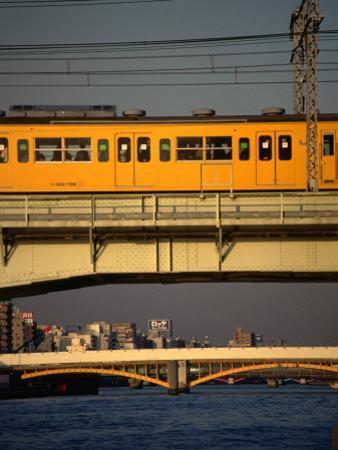 Sobu Train Crossing Sumida-Gawa River, Tokyo, Japan