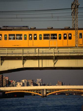 Sobu Train Crossing Sumida-Gawa River, Tokyo, Japan by Martin Moos