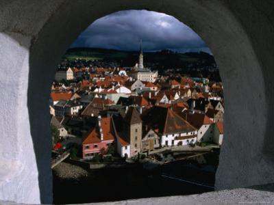 The Old Town from Krumlov Castle Tower, Cesky Krumlov, South Bohemia, Czech Republic by Martin Moos