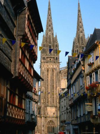 Towers of Cathedral St. Corentin in Rue Kereon, Quimper, France