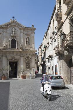 Motor Scooter and Cattedrale Di San Cataldo in Taranto, Basilicata, Italy, Europe by Martin