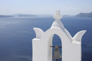 Bell Tower with Caldera in the Distance, Oia, Santorini Island, Cyclades Islands, Greek Islands, Gr by Martin Ruegner