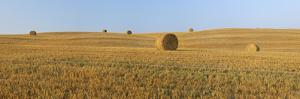 Harvested Wheat Field with Bales of Hay. by Martin Ruegner