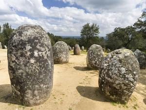 Almendres Cromlech Ancient Stone Circle. Portugal by Martin Zwick