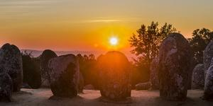 Almendres Cromlech Circle at sunset. Portugal by Martin Zwick