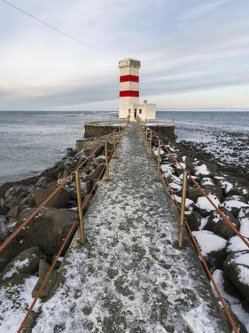 Cape Gardskagi with Lighthouse During Winter on the Reykjanes Peninsula. Iceland by Martin Zwick