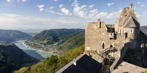 Castle Ruin Aggstein High Above the Danube in the Wachau Among Vineyards. Austria by Martin Zwick