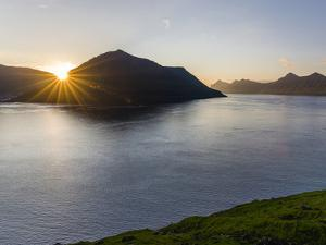 Fjord Fuglafjordur and Leirviksfjordur at sunset, island Kalsoy, Denmark by Martin Zwick