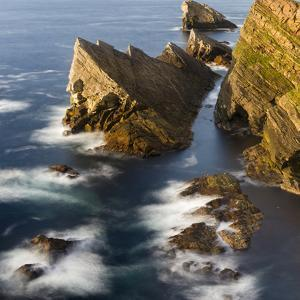 Foula Part of Shetland Islands. Cliffs in North at East Hoevdi with Natural Arch Gaada Stack by Martin Zwick