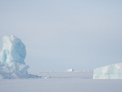 Frozen Melville Bay, near Kullorsuaq in the far north of West Greenland.