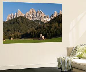 Geisler Mountains, Valley Villnoess, Church St. John in Ranui, Puez-Geisler, Italy by Martin Zwick