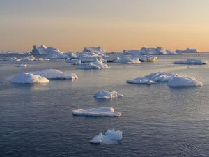 Icebergs in the Disko Bay. Inuit village Oqaatsut located in Greenland by Martin Zwick