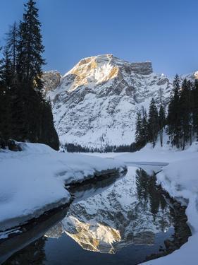 Lake Pragser Wildsee in Nature Park Fanes Sennes Prags, Winter. Italy by Martin Zwick