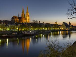 Regensburg in Bavaria, the Old Town. Dawn over the Old Town, Reflections in the River Danube by Martin Zwick
