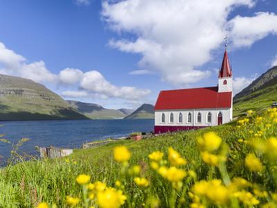 The church in village Husar on Kalsoy, Faroe Islands, Denmark by Martin Zwick