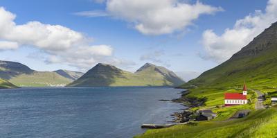 The church in village Husar on Kalsoy. Faroe Islands, Denmark by Martin Zwick