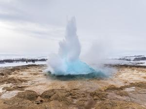 The Geothermal Area Haukadalur, Part of Tourist Route Golden Circle During Winter. Geysir Strokkur by Martin Zwick