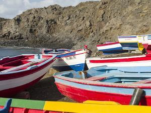 Traditional fishing boats near Las Salinas. Fogo Island (Ilha do Fogo), part of Cape Verde by Martin Zwick