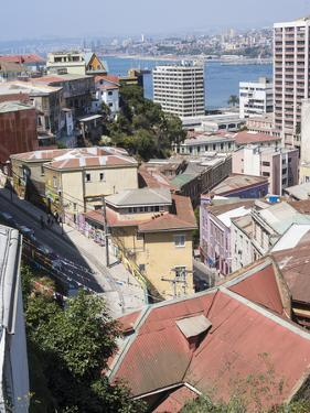 View over the Lower Historic Town Center Towards the Harbor. Chile by Martin Zwick