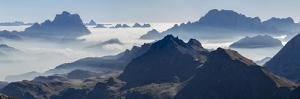 View towards Antelao, Pelmo, Civetta seen from Sella mountain range in the Dolomites. by Martin Zwick