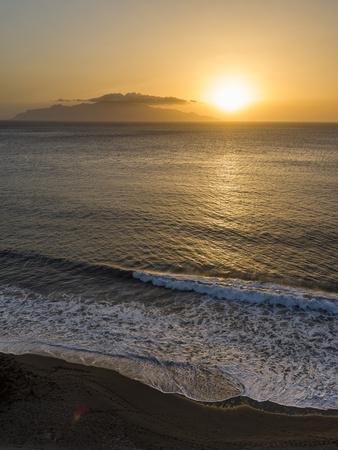 View towards Brava island over Praia Sao Filipe. Fogo Island (Ilha do Fogo), part of Cape Verde.