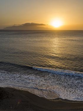 View towards Brava island over Praia Sao Filipe. Fogo Island (Ilha do Fogo), part of Cape Verde. by Martin Zwick