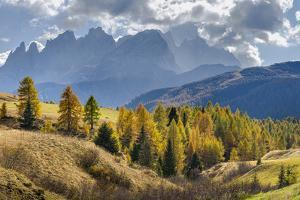 View towards Pale di San Martino, Focobon mountain range, in the Dolomites of Trentino, Italy. by Martin Zwick