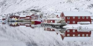 Village Fredvang on the island Moskenesoya. The Lofoten Islands in northern Norway during winter. by Martin Zwick