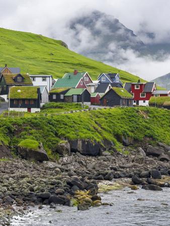 Village of Elduvik located at fjord Funningsfjordur, Denmark by Martin Zwick
