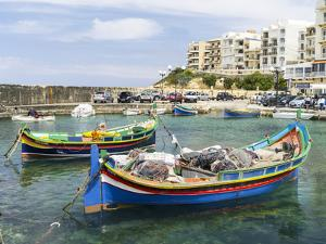 Waterfront with Luzzu Fishing Boats, Marsalforn, Gozo Island, Malta by Martin Zwick