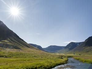 Westfjords (Vestfirdir) in northwest Iceland. Valley Eyrardalur on the Thingeyri peninsula. by Martin Zwick