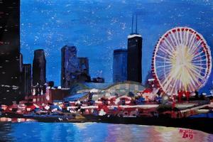 Chicago Skyline with Ferris Wheel by Martina Bleichner