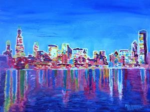 Neon Shimmering Skyline of Chicago Skyline at Night by Martina Bleichner
