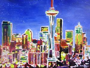 Neon Shimmering Skyline of Seattle With Space Need by Martina Bleichner